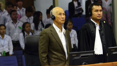 Witness Neang Ouch, alias Ta San, giving testimony before the UN-backed and Australian-funded court in March 2015.