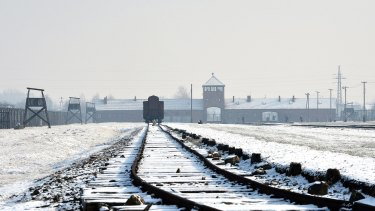 The railway tracks at the former Nazi concentration camp Auschwitz-Birkenau in Oswiecim, Poland.