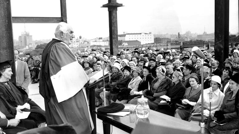 Prime Minister Robert Menzies addresses a crowd at Sydney University in May 1961.