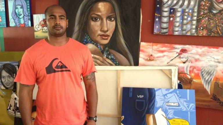 Myuran Sukumaran in the art room at Kerobokan prison in 2012.