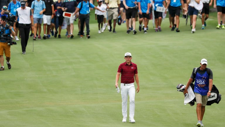 I'll be back: Cameron Smith walking the fairway on the final day of the Australian PGA Championships.
