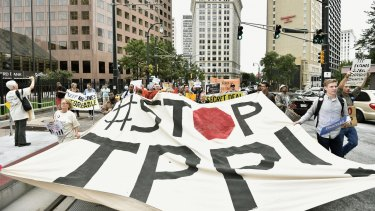 Growing discontent with 'free trade' deals in the US: An anti-TPP protest last year in Atlanta, Georgia.