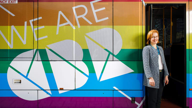 Minster for Transport Canberra and City Services unveils a rainbow bus in support of marriage equality on Tuesday.