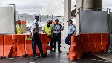 Heavy police presence at Circular Quay on New Year's Eve.