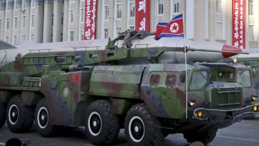 What is believed to be a ballistic missile paraded in Pyongyang during anniversary celebrations in October, 2015.