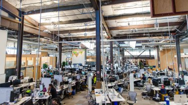 Employees inside Facebook's Menlo Park, California, office, which may be the longest continuous workspace in the world.