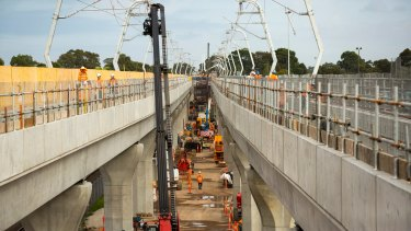 The sky rail at Noble Park is due to carry its first passengers on February 15.