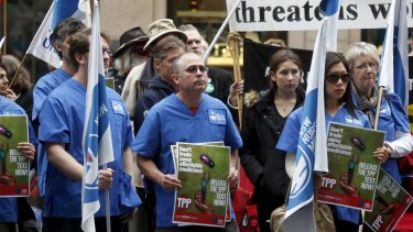 Rally against the Trans-Pacific Partnership (TPP) in Martin Place in August.