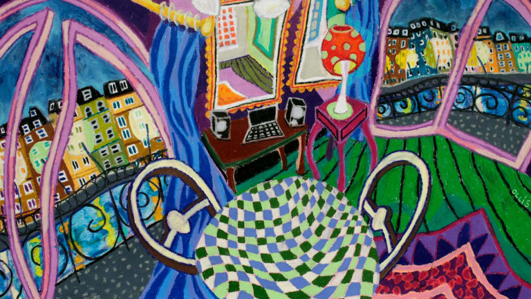 Bernard Ollis' <i>Paris Interior</I> is one of a number of gems in his exhibition at Aarwun Gallery.