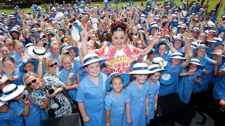 For the kids: Katy Perry at Loreto Mandeville Hall in Toorak.