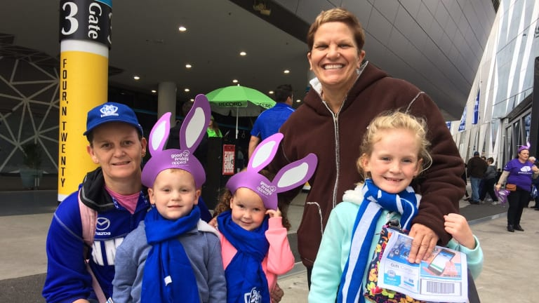 Vicki Foote (far left) with Jorja, 6, Jaida,3, Julie Doonan and Jarrah, 3. The family travelled from WA especially for the Good Friday game.