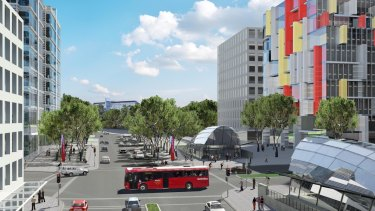 Artist's impression of Waterloo Road entrance to Macquarie Uni.