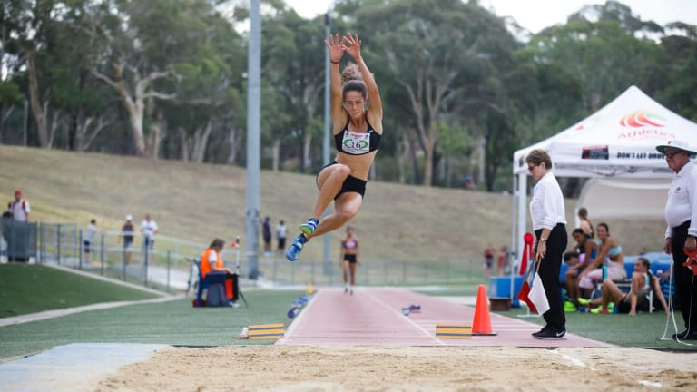 Queanbeyan's Andrea Thompson competes in the long jump event.