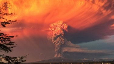 Smoke and ash rise from the Calbuco volcano as seen from the city of Puerto Montt on April 22.