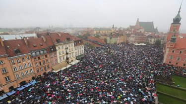 A sea of umbrellas on Black Monday in downtown Castle Square, Warsaw. 90 per cent of strikers were from cities of populations of less than 50,000.