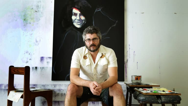 Artist Nigel Milsom at his studio in the Newcastle suburb of Wickham.