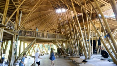 The main building of the school, created primarily from local bamboo.