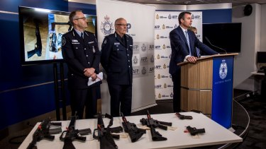 Michael Keenan with some examples of the type of weapons that were seized.