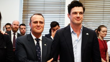 Liberal MP Tim Wilson with his partner Ryan Bolger waiting for the result of the same-sex marriage postal survey was announced, during a gathering at Senator Simon Birmingham's office at Parliament House on November 15.