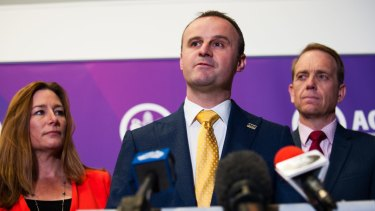 Chief Minister Andrew Barr delivering the ACT budget on Tuesday.