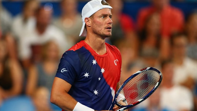 Lleyton Hewitt in his match against Jack Sock at the Hopman Cup.