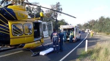 RACQ Careflight chopper attends a vehicle accident near Warwick.