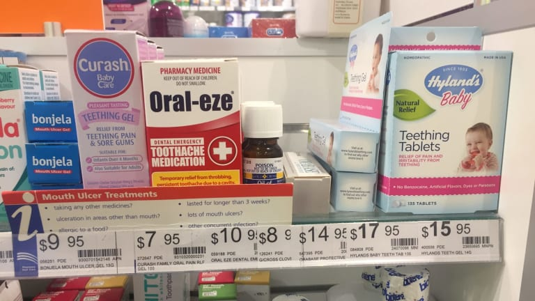Hyland's homeopathic teething tablets and gel on sale in Melbourne.