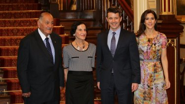 Sir Nicholas Shehadie  and Prof Marie Bashir, Governor of NSW, meet Denmark's Prince Frederik and Crown Princess Mary at Government House in 2011.