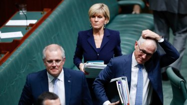 Treasurer Scott Morrison, Foreign Affairs Minister Julie Bishop and Prime Minister Malcolm Turnbull leave question time on Wednesday.