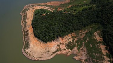 An aerial view of the Atibainha dam, part of the Cantareira reservoir, one of the main water reservoirs that supply Sao Paulo state.