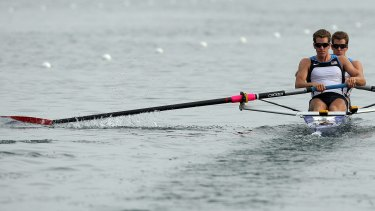 America's Tyler and Cameron Winklevoss power in the men's pair final at the Shunyi Rowing and Canoeing Park during the 2008 Beijing Olympic Games in Beijing.