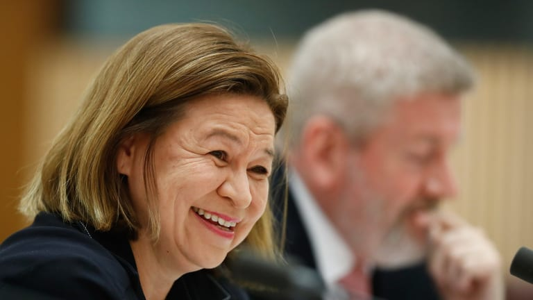 ABC managing director Michelle Guthrie and Communications Minister Mitch Fifield during a Senate estimates hearing on Tuesday.