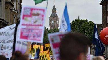 Anti-austerity demonstrators in London.