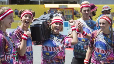 Celebrations at the reopening of Dreamworld on December 10.