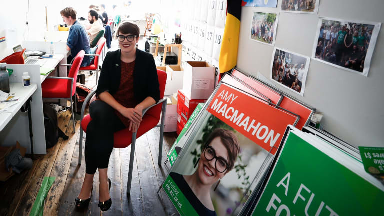 Greens candidate for South Brisbane, Amy MacMahon, in her campaign office.