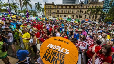 Crowds at the People's Climate March through Brisbane.