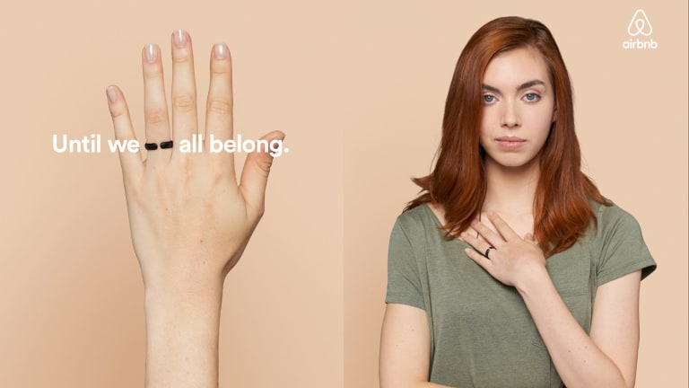 Until we all belong: an image from the marriage equality campaign spearheaded by Airbnb.