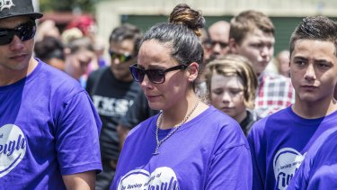 Tiahleigh Palmer's mother Cindy attends her daughter's funeral in Brisbane.