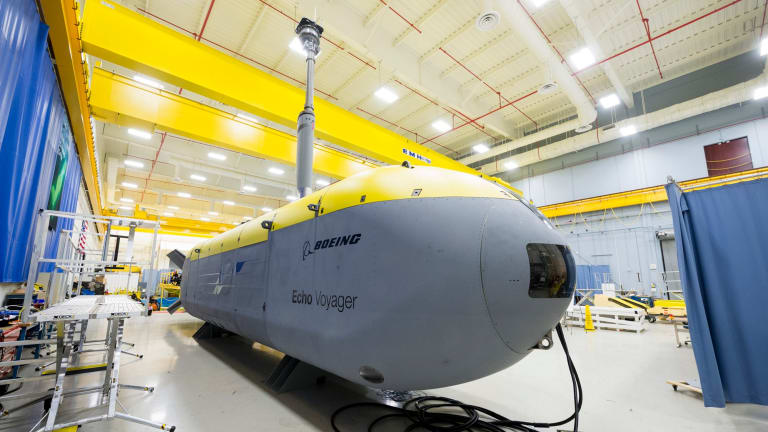 Boeing's Echo Voyager, a 15-metre underwater drone, can stay at sea for months.