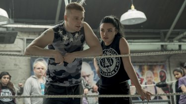 Jack Lowden (left) stars as Zak Knight and Florence Pugh (right) stars as Paige in Fighting with my Family, directed by Stephen Merchant.