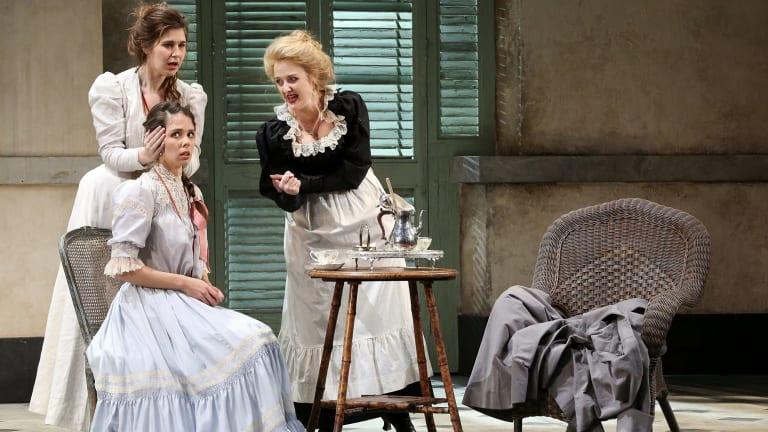 Nicole Car (left) as Fiordiligi, Anna Dowsley as Dorabella and Taryn Fiebig as Despina in Opera Australia's <i>Cosi Fan Tutte</i>.