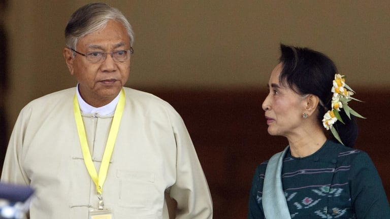 Newly elected Htin Kyaw has publicly nailed his colours to The Lady's mast.