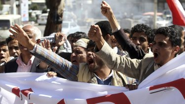 Protesters demonstrate against the deployment of armed militia of the Shiite Houthi movement in Sanaa last week.
