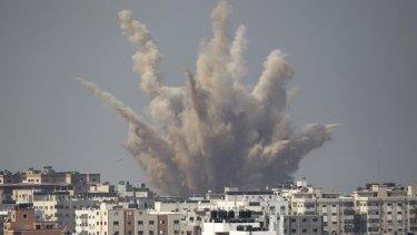 An Israeli airstrike in Gaza in August last year.