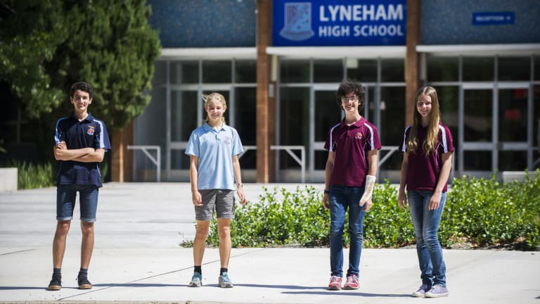 Lyneham High year 9 students, Peter Gedeon, Elise Palethorpe, Kiran Phillipps, and Georgie Lyall.