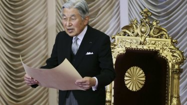 Emperor Akihito formally opening a session of Japan's parliament earlier this month.