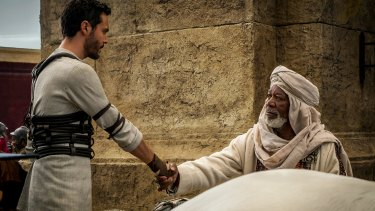 A film about the Roman Empire and about us – Huston as Ben-Hur and Morgan Freeman as Ilderim.