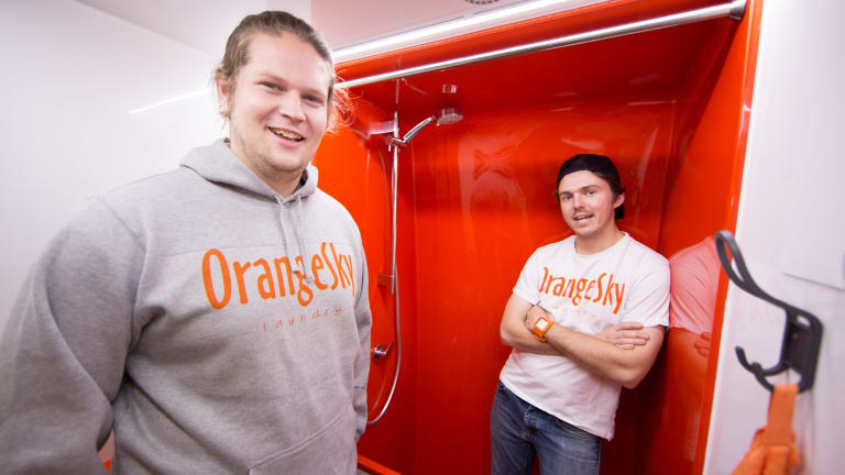 Orange Sky Laundry co-founders Lucas Patchett and Nicholas Marchesi.