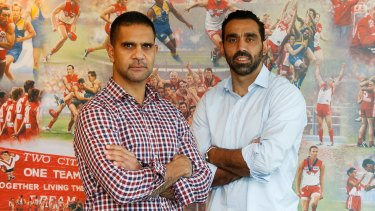 Mates: Michael O'Loughlin (left) and Adam Goodes.