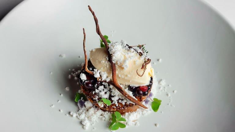 Pear with malted ice-cream, blackberry and quinoa.